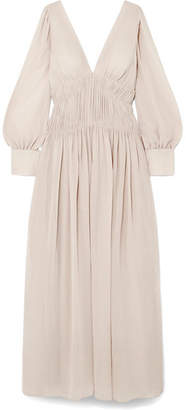 Stella McCartney Carleigh Ruched Silk-georgette Maxi Dress - Off-white