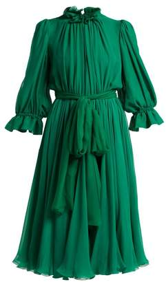 Dolce & Gabbana Ruffle Trimmed Chiffon Midi Dress - Womens - Green