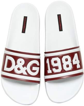 Dolce & Gabbana Rubberized Leather Slide Sandals