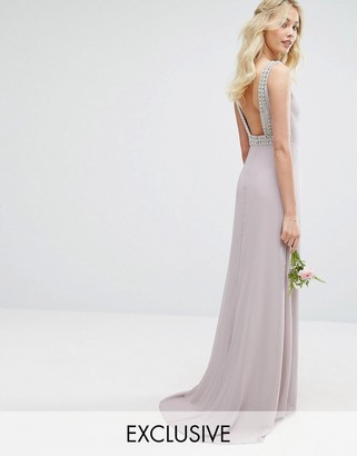 TFNC WEDDING High Neck Maxi Dress with Embellished Low Back $113 thestylecure.com