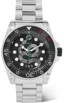 Gucci Dive 45mm Stainless Steel Watch - Men - Black