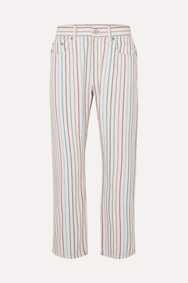 Sonia Rykiel Striped High-rise Jeans - White