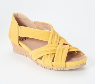 Earth Scrunched Nubuck Cross-Strap Wedges - Ficus Gemini