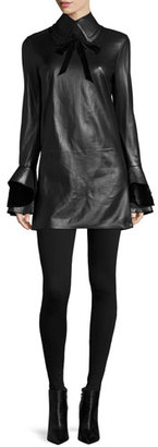 Ralph Lauren Collection Laverne Bell-Sleeve Leather Dress, Black $3,690 thestylecure.com