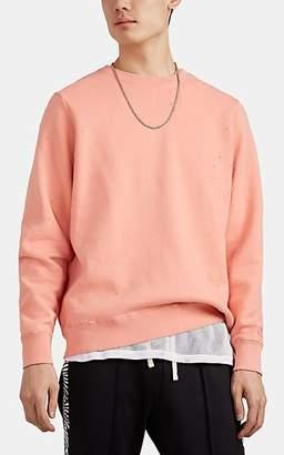 Ovadia & Sons Women's Distressed Cotton-Blend Fleece Crewneck Sweatshirt - Pink