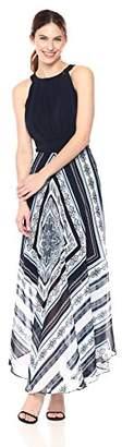 Sandra Darren Women's 1 PC Sleeveless Solid ITY & Printed Chiffon Maxi Dress