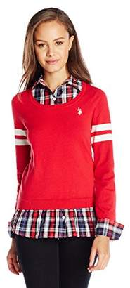 U.S. Polo Assn. Juniors' Plaid Twofer Pullover Sweater