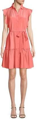 Kate Spade Silk Dress W/ Ruffle Sleeves & Collar