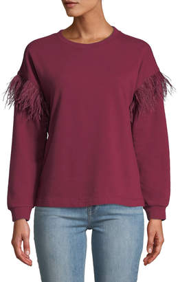 Free Generation Ostrich Feather-Sleeve Drop-Shoulder Pullover