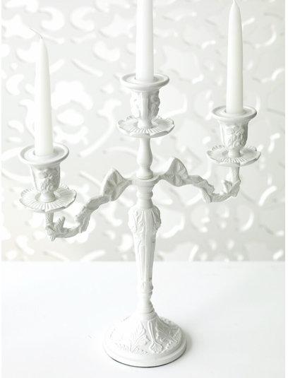 Carved Metal  Candelabra - White