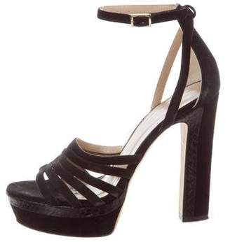 Tamara Mellon Snakeskin-Trimmed Platform Sandals
