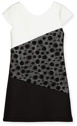Zoe Contrast Tricolor Polka-Dot Dress, Size 4-6X