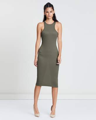 Missguided Ribbed Racer Neck Bodycon Midi Dress