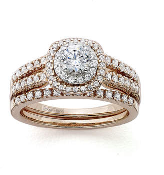 JCPenney MODERN BRIDE Modern Bride Signature 1 CT. T.W. Certified Diamond 14K Rose Gold Bridal Ring Set