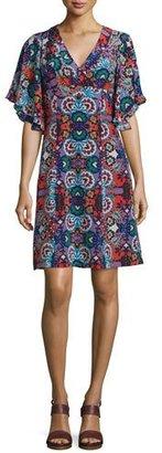 Nanette Lepore Flutter-Sleeve Floral-Print Silk Dress, Red/Multi $498 thestylecure.com