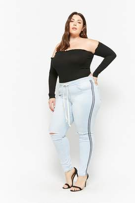 Forever 21 Plus Size Striped Drawstring Jeans