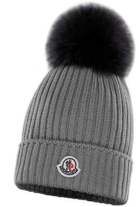 Moncler Kid's Virgin Wool Knit Beanie Hat w/ Fur Pompom
