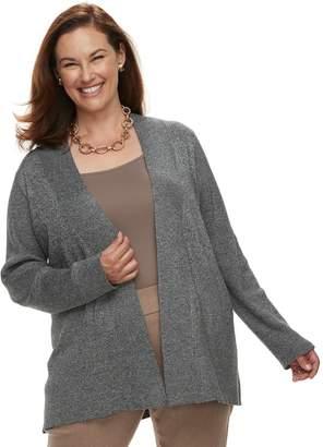 Dana Buchman Plus Ribbed Long Sleeve Cardigan