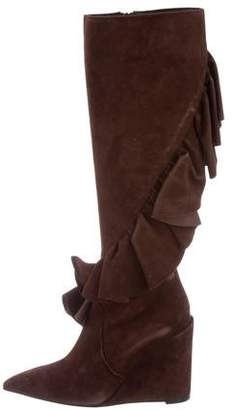 J.W. Anderson 2016 Ruffle-Trimmed Wedge Boots w/ Tags best store to get online 3XajY9