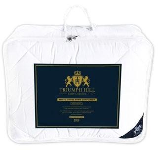 Triumph Hill White Goose Down Bed Comforter 100% Jacquard Cotton Twin Size All Season Machine Washable
