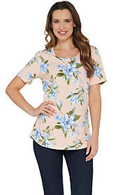Denim & Co. Perfect Jersey Floral Print ShortSleeve Top