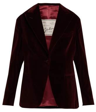 Giuliva Heritage Collection - The Other Smoking Single Breasted Velvet Blazer - Womens - Burgundy