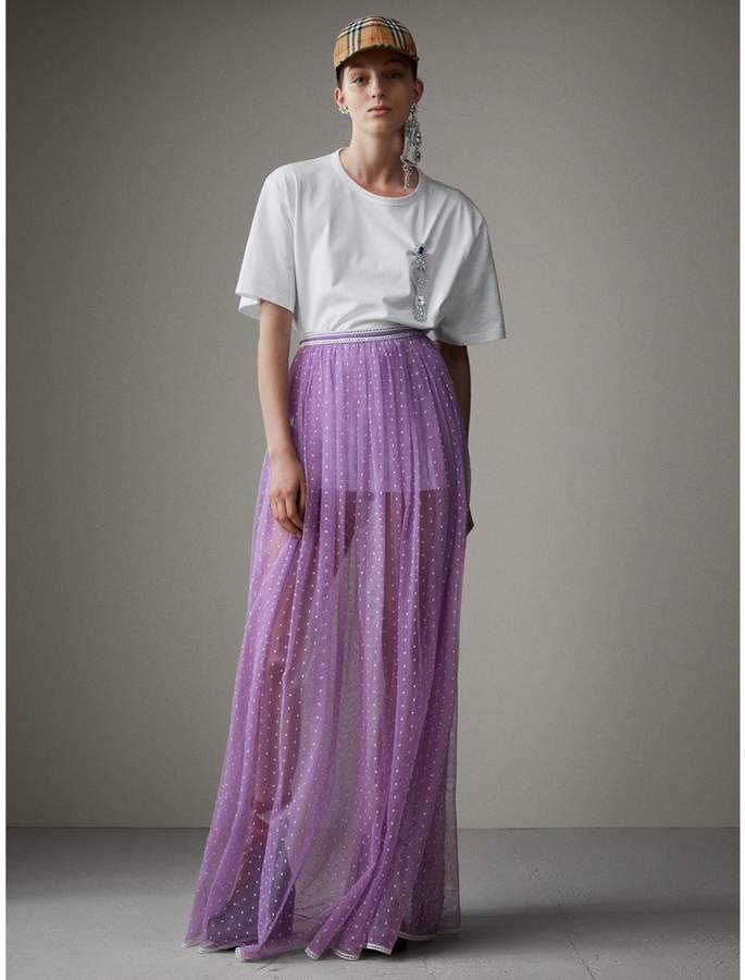 Burberry Floor-length Flocked Cotton Tulle Skirt