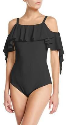8d5228a48dccc Chiara Boni Marcel Ruffle Cutout One-Piece Swimsuit