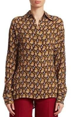 Victoria Beckham Masculine Printed Silk Blouse