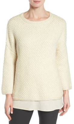 Women's Eileen Fisher Organic Cotton Honeycomb Pullover $298 thestylecure.com