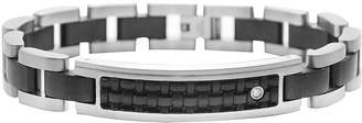 JCPenney FINE JEWELRY Mens Diamond-Accent Stainless Steel & Leather ID Bracelet