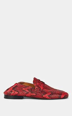 Isabel Marant Women's Fezzy Snakeskin-Stamped Leather Penny Loafers - Red