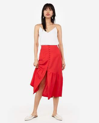 Express Super High Waisted Button Front Midi Skirt