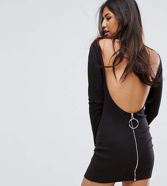 Missguided Ribbed Backless Ring Zip Dress