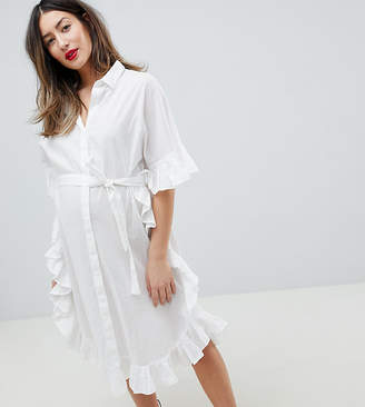 Mama Licious Mama.licious Mamalicious Longline Frill Shirt Dress