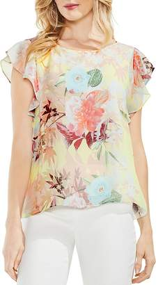 Vince Camuto Flutter Sleeve Faded Bloom Blouse
