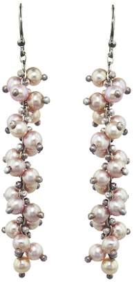Ten Thousand Things Pink Pearl Long Spiral Earrings - Sterling Silver