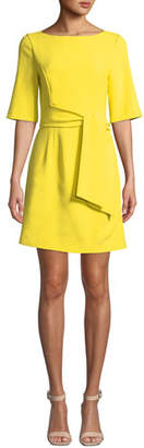 Alice + Olivia Virgil Boat-Neck Dress with Wrap Belt