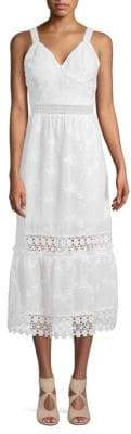 ABS by Allen Schwartz Lace-Trimmed Midi Dress