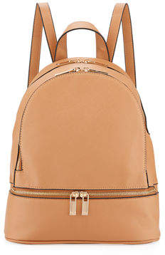 Neiman Marcus Faux Saffiano Backpack with Rose-Tone Hardware
