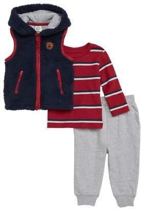 Little Me Hooded Vest, T-Shirt & Sweatpants Set