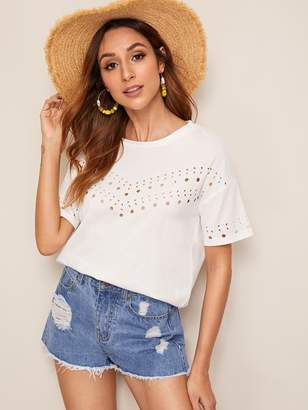 Shein Solid Drop Shoulder Cut-out Detail Tee