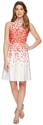 Tahari ASL Faille Petals Fit-and-Flare Dress Women's Dress
