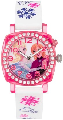 Disney Princess Disney Frozen Princess Elsa and Anna Printed Jewelled Flashing Dial with White Printed Silicone Strap Kids Watch