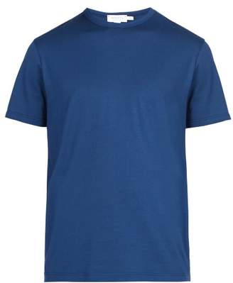 Sunspel Crew Neck Cotton Jersey T Shirt - Mens - Blue