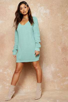 boohoo V Neck Jumper Mini Dress