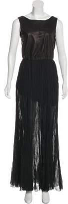 Alice + Olivia Leather-Accented Maxi Dress