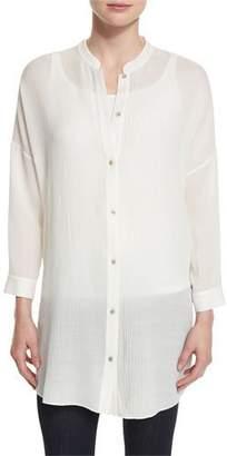 Eileen Fisher Crinkled Gauze Long Shirt