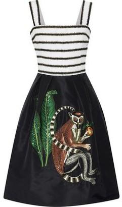 Oscar de la Renta Embellished Silk-Faille Dress