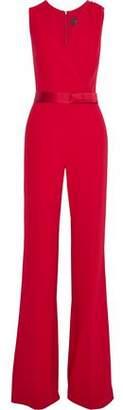 Max Mara Wrap-effect Satin-trimmed Crepe Jumpsuit